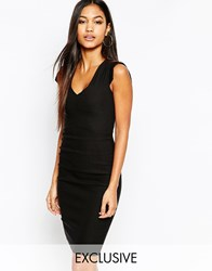 Vesper V Neck Ruched Midi Pencil Dress Black