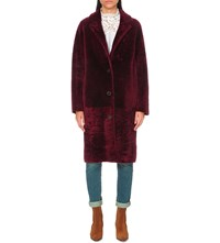 Sandro Sticky Sheepskin Coat Bordeaux