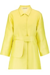 Emilia Wickstead Madge Belted Duchesse Satin Coat Yellow