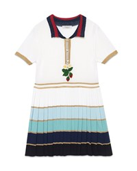 Gucci Short Sleeve Striped Pleated Dress White Multicolor Size 6 12 Girl's Size 8