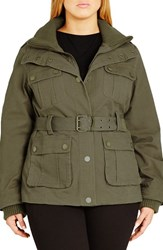 City Chic Plus Size Women's Rib Knit Trim Belted Utility Jacket Khaki