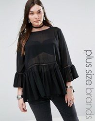 Alice And You Frill Hem Sheer Blouse Black