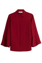 Valentino Silk Blouse With Flutter Sleeves Red