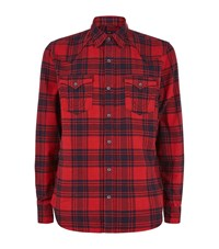 True Religion Slim Fit Checked Flannel Shirt Male Red