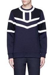 Neil Barrett Tricolour Panelled Side Zip Sweatshirt Blue
