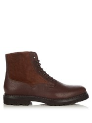 Brunello Cucinelli Leather And Suede Boots Brown