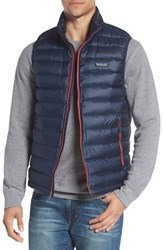 Patagonia Men's Windproof And Water Resistant 800 Fill Power Down Quilted Vest Navy Blue Ramble Red