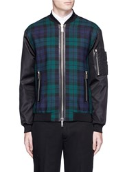 Dsquared Check Plaid Leather Trim Bomber Jacket Multi Colour