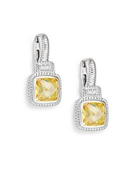 Judith Ripka Natalie Canary Crystal White Sapphire And Sterling Silver Cushion Drop Earrings Silver Yellow