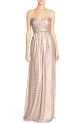 Women's Amsale Strapless Sequin Tulle Gown Rose Gold