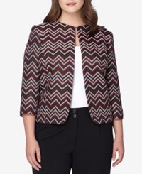 Tahari By Arthur S. Levine Asl Plus Size Chevron Patterned Jacket Red Black