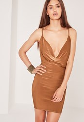 Missguided Cowl Back Front Shift Dress Brown Bronze