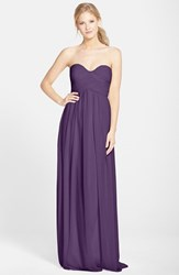 Women's Donna Morgan 'Laura' Ruched Sweetheart Silk Chiffon Gown Amethyst