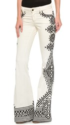 Alice Olivia Ryley Low Rise Embroidered Bell Jeans Natural Black
