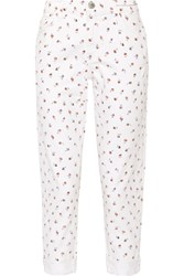 Current Elliott The Fling Floral Print Mid Rise Slim Boyfriend Jeans Ivory