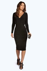 Boohoo Slinky Plunge Neck Midi Bodycon Dress Black