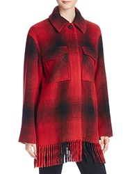 Alexander Wang T By Fringed Plaid Blanket Wool Blend Coat Burn Over Flow