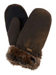 Barbour Wax With Fur Trim Mittens Khaki