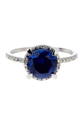 10K White Gold Blue Sapphire Solitaire Ring