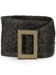 Yves Saint Laurent Vintage Wide Quilted Belt Black