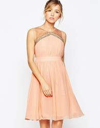 Little Mistress Skater Dress With Cinched Waist And Sheer Neckline Peach Orange