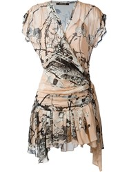 Roberto Cavalli Floral Print Wrap Dress Nude And Neutrals