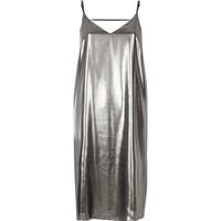 River Island Womens Silver Strap Back Cami Midi Dress