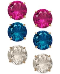 Macy's Multi Gemstone Round Stud Earring Set 6 1 8 Ct. T.W. In 14K Gold
