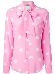 Moschino Heart Print Blouse Pink And Purple