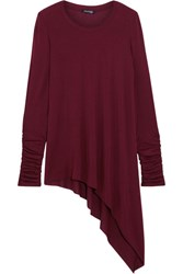 Splendid Asymmetric Stretch Micro Modal And Cashmere Blend Top Burgundy