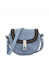 Altuzarra Ghianda Studded Suede Saddle Mini Bag Denim Blue