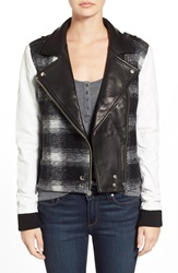 Paige 'Shelley' Mixed Media Moto Jacket Black White Plaid