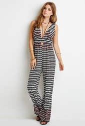 Forever 21 Embroidered Tribal Print Jumpsuit Black Cream