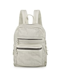 Ash Danica Large Perforated Leather Backpack Off White