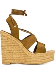 Saint Laurent Platform Wedge Sandals Green