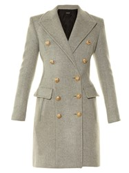 Balmain Notch Lapel Double Breasted Coat Light Grey