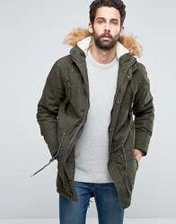 Solid Parka With Faux Fur Hood Khaki Green