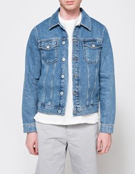 Topman Mid Wash Rowley Western Jacket Blue