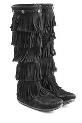 Minnetonka Fringed Suede Knee Boots With Studs Gr. 7