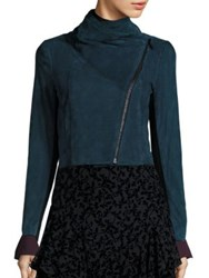 Yigal Azrouel Suede Funnel Neck Jacket Pine Multi