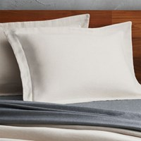 Cb2 Set Of 2 Weekendr Ivory Chambray Standard Shams
