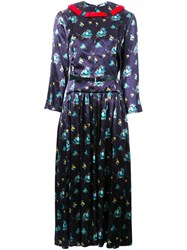 Toga Floral Print Pleated Dress Blue