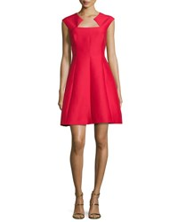 Halston Cap Sleeve Structured Cocktail Dress Scarlet