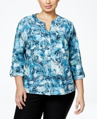 Ny Collection Plus Size Printed Utility Blouse Ocean Astonish