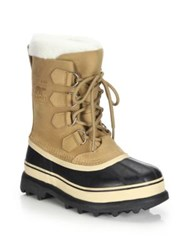 Sorel Caribou Nubuck Leather And Faux Fur Lace Up Boots Buff