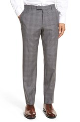 Boss Men's 'Leenon' Flat Front Plaid Wool Trousers Medium Grey