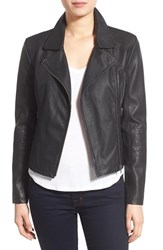 Women's Cupcakes And Cashmere 'Sid' Faux Leather Moto Jacket Black
