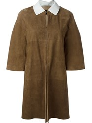 Blancha 3 4 Sleeve Coat Brown