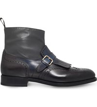 Santoni Colin Fringed Leather Monk Ankle Boots Grey