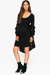 Boohoo Lucy Scoop Neck Long Sleeve Bodycon Black